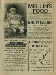 "London, England - January 4, 2015: Three British advertisements, for products for children and invalids, cough mixture and beef extract, from ""Chats About Sailors"" by ""Mercie Sunshine"" (a pseudonym), published by Ward, Lock & Bowden Limited in the 1890s. (The company of Ward Lock traded as Ward, Lock & Bowden Limited from 1893-1897 so the book was published between those dates.) Image scanned 4 January 2015 and modified 19 November 2015."